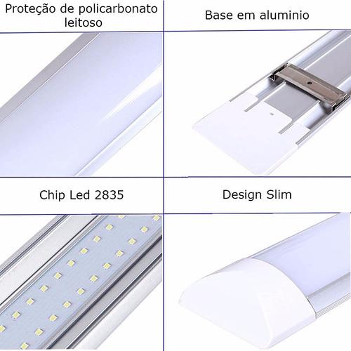 kit 8 luminárias tubular led slim 40w branco frio 120cm