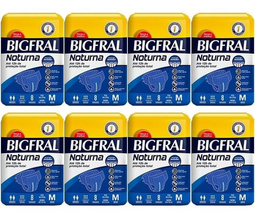 kit 8 pct = 64 un fralda bigfral noturna m adulto geriátrica