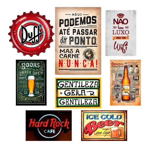 kit 8 placas quadros decorativos churrasco lazer bar gourmet