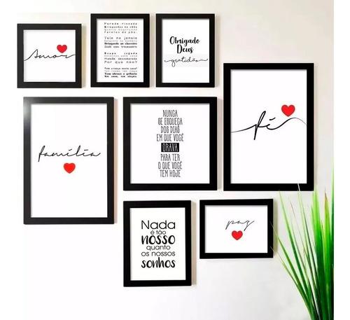 kit 8 quadros decorativos  amor fé frases com moldura vidro