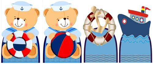 kit 8 ursinho marinheiro 4 totens chão e 4 displays mesa mdf