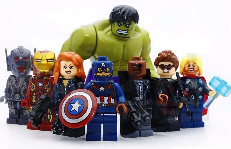 Kit 8 Vingadores Marvel Avengers Big Hulk Lego Guerra ...