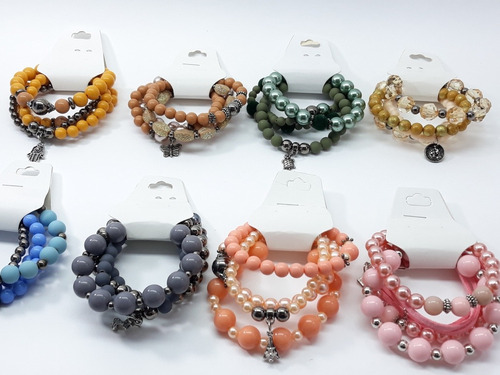 kit 80 pulseiras (20 conjuntos) braceletes femininas atacado