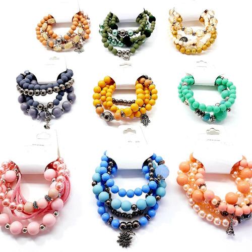 kit 80 pulseiras braceletes femininas atacado