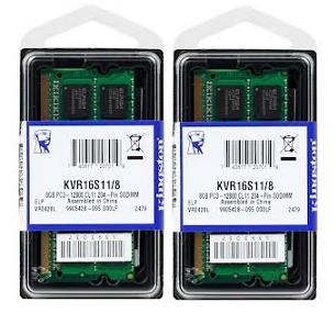 kit 8gb (2x4gb) ddr3 1600mhz kingston kvr16s11/4 p/ notebook