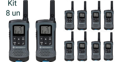 kit 8un radio comunicador talkabout t200br cinza motorola