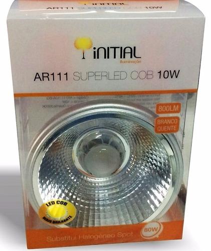 kit 8x spot ar111 quadrado c/ lampada led 10w 3000k