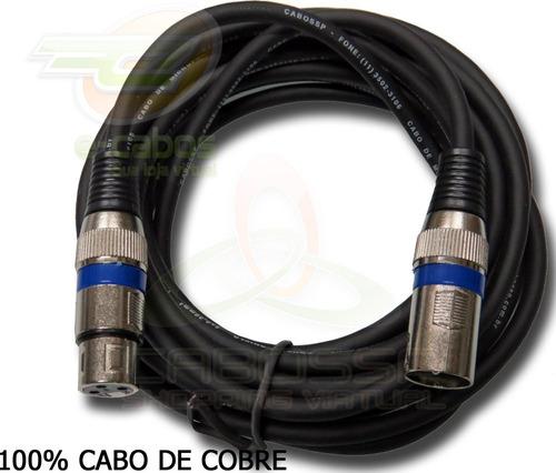 kit 9 cabos microfone/dmx - xlr/canon balanceado 3/1 metros