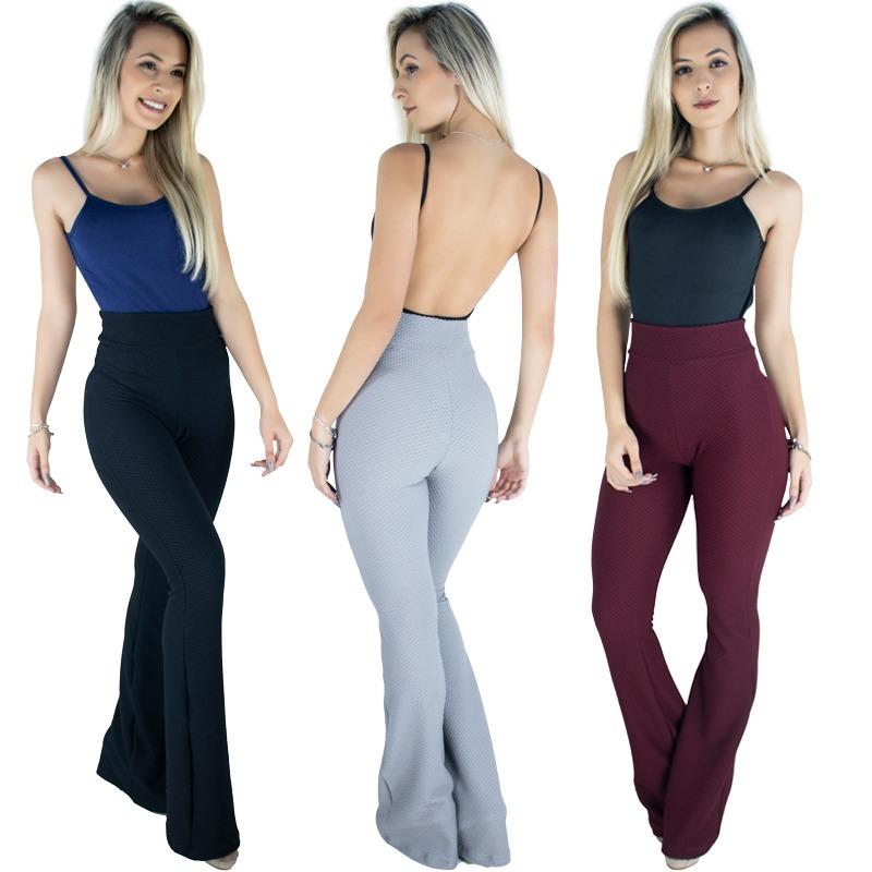 d11f07f24 kit 9 calça feminina flare pantalona cintura alta moda. Carregando zoom.