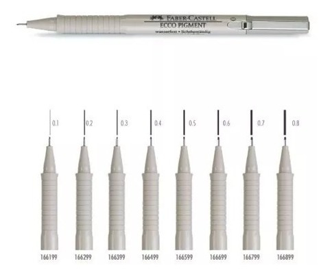 kit 9 canetas nankin faber castell ecco pigment 0,05 a 0.8