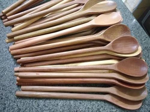 kit 9 colher de madeira oval 30 cm cozinha restaurante