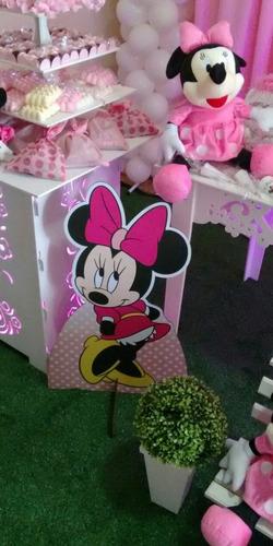 kit 9 minnie rosa chão 80cm e mesa decoração festa infantil