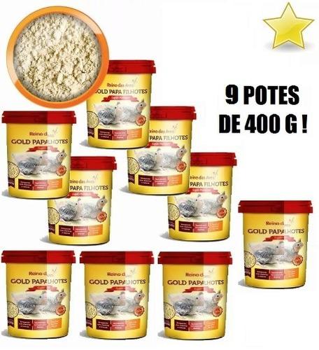 kit 9 papinha gold papa filhotes calopsita papagaio pássaros