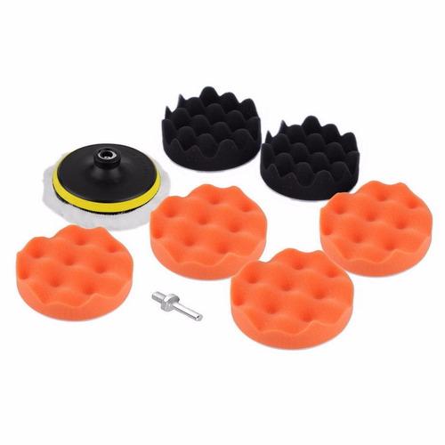 kit 9 piezas esponjas / borla para pulir auto (con taladro)