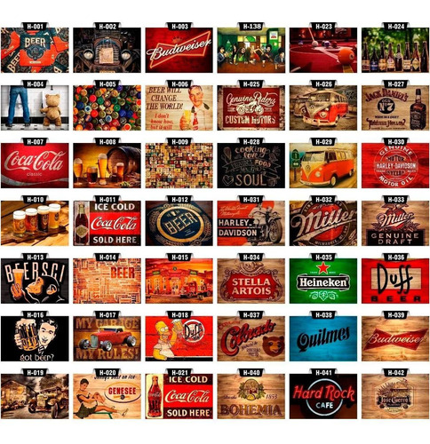 kit 9 placas decorativas vintage retrô churrasco bar bebida