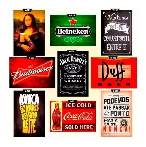 kit 9 placas decorativas vintage retrô churrasco + frete