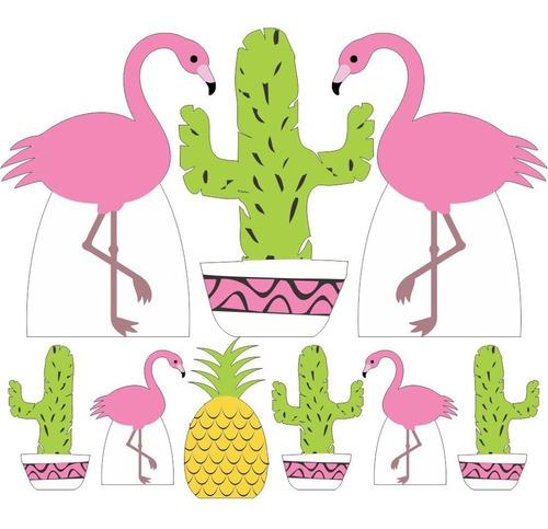 kit  9 totem display mdf flamingo festa tropical