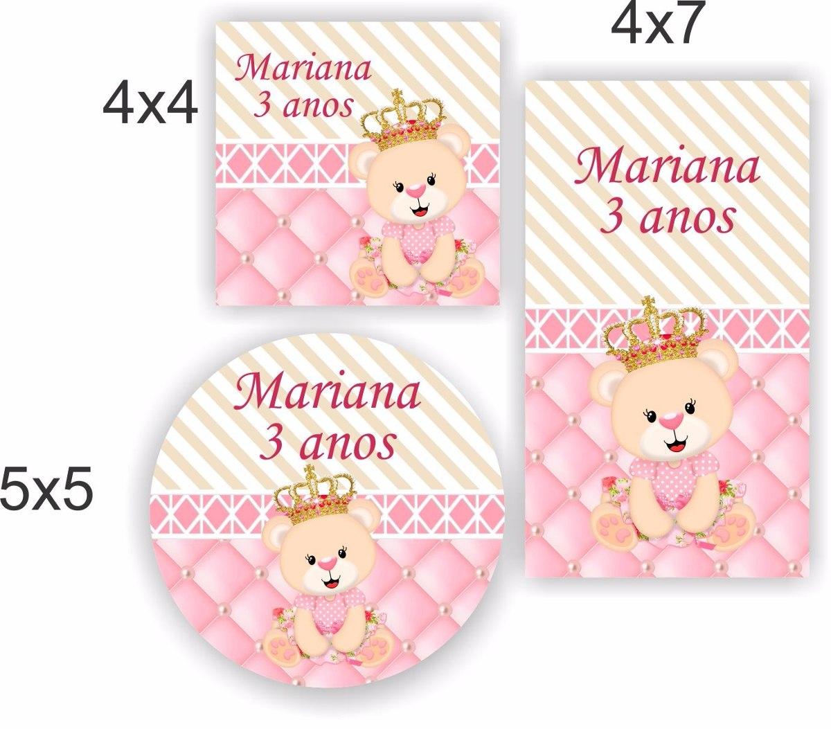 Adesivo Para Moto Frases ~ Kit 90 Un Adesivo Ursinha Princesa Chá De Bebe Lembrancinha R$ 29,99 em Mercado Livre