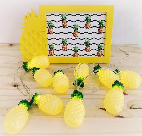 kit abacaxi cordão luminoso + porta-retrato decoração festa