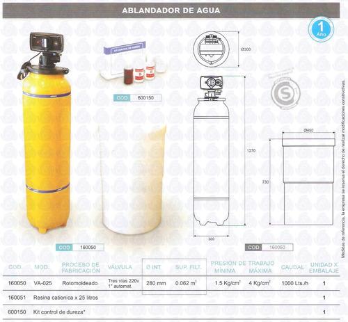 kit ablandador agua vulcano + resina 25kg.