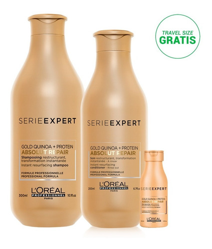 kit absolut quinoa: shampoo 300 + acondicio 200 + travel oil