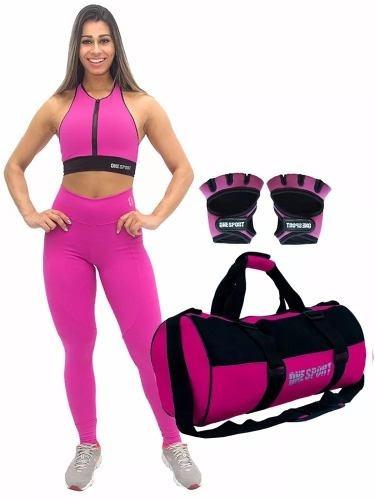 kit academia feminino legging + top + acessorios imperdivel