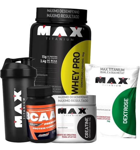 kit academia hipertrofia muscular - max titanium