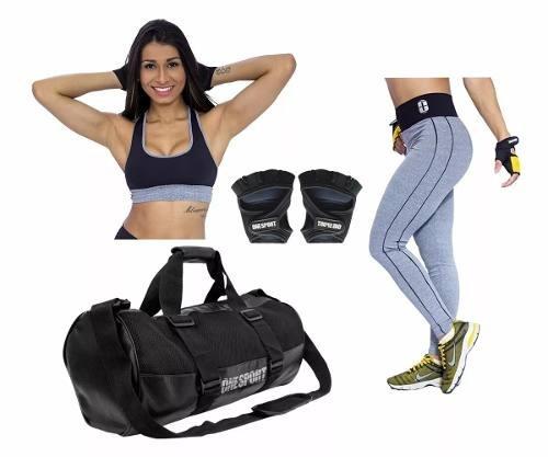 kit academia legging + top + acessorios oferta frete gratis