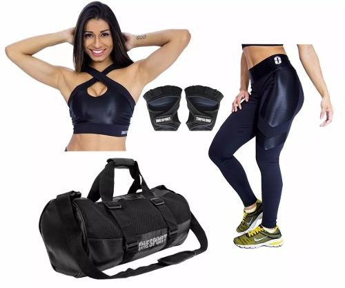 kit academia moda fitness legging + top + acessorios oferta