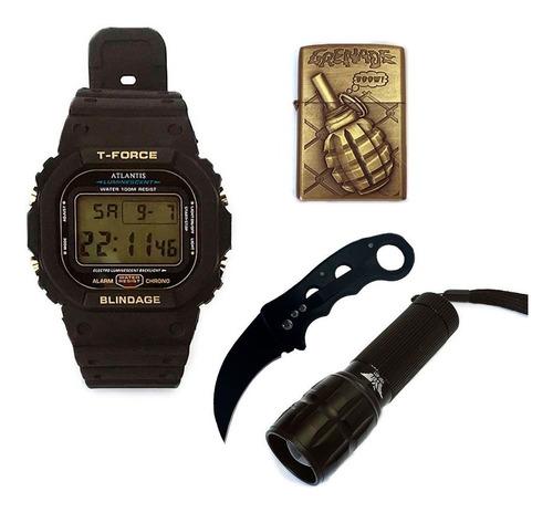 kit acampamento barato relógio canivete lanterna e isqueiro