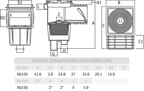 kit accesorios empotrables desnatador piscinas albercas pvc