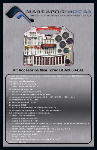 kit accesorios mini torno black and decker 3038 discos lijas