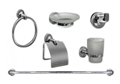 kit accesorios pringles modelo kahlo 5 piezas cromo metalico