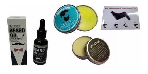 kit aceite barba, balsamo, beardbro, jabón afeitar barberia