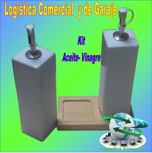 kit aceitera y vinagrera de ceramica 3 pzas con base madera