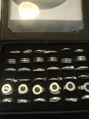 kit acero quirurgico 20 cadenas 20 dijes 36 anillos aros n°3