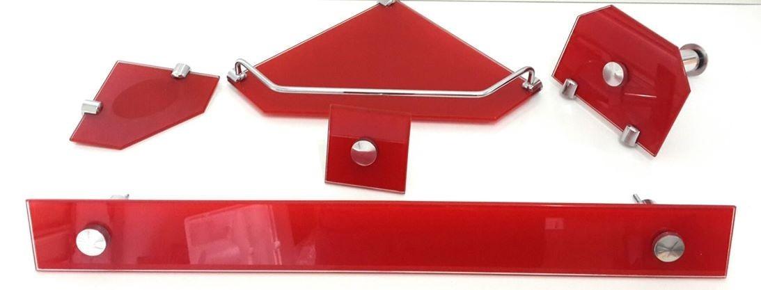 Kit De Banheiro Vermelho E Branco : Kit acessorios banheiro vb de vidro mm vermelho reto r
