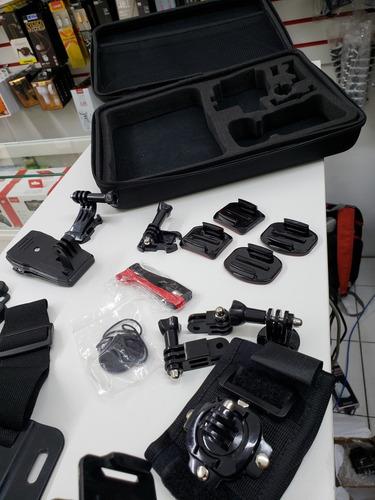 kit acessorios para cameras de ação 25 peças maleta dudacell