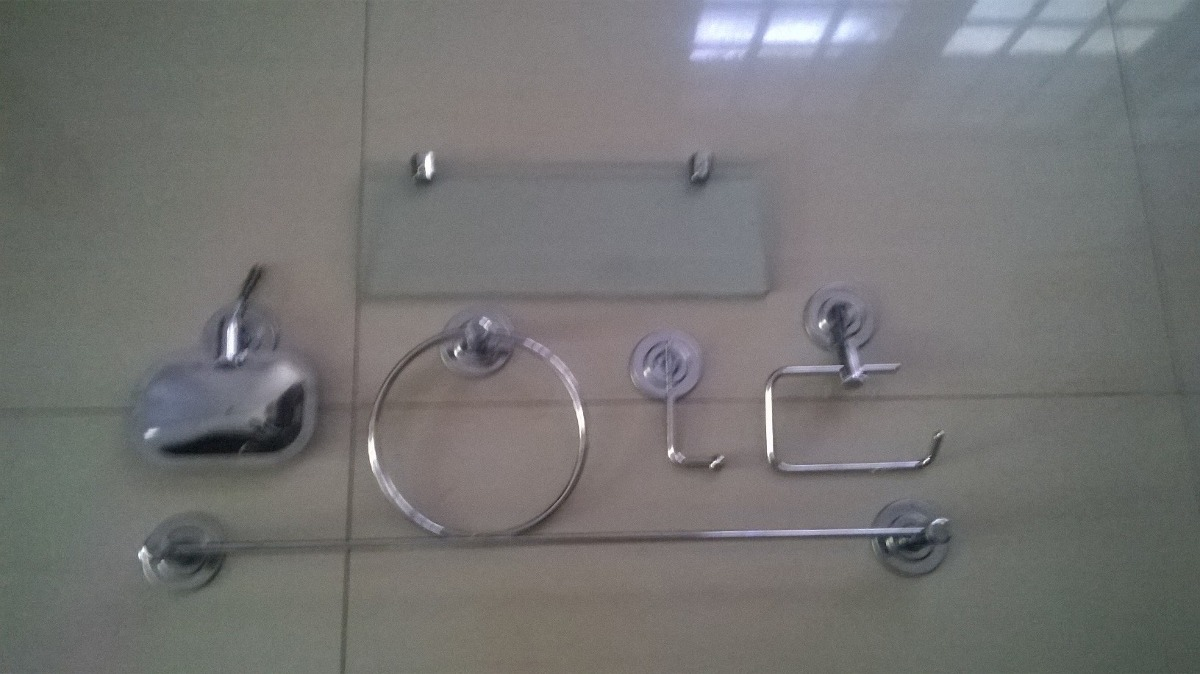 Kit Banheiro Inox Meber : Kit acess?rios p banheiro inox porta shampoo reto cm