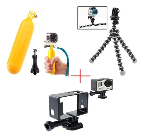 kit acessórios p/câmera hero hd 2 3 3+ 4 go pro 4 gopro 3+
