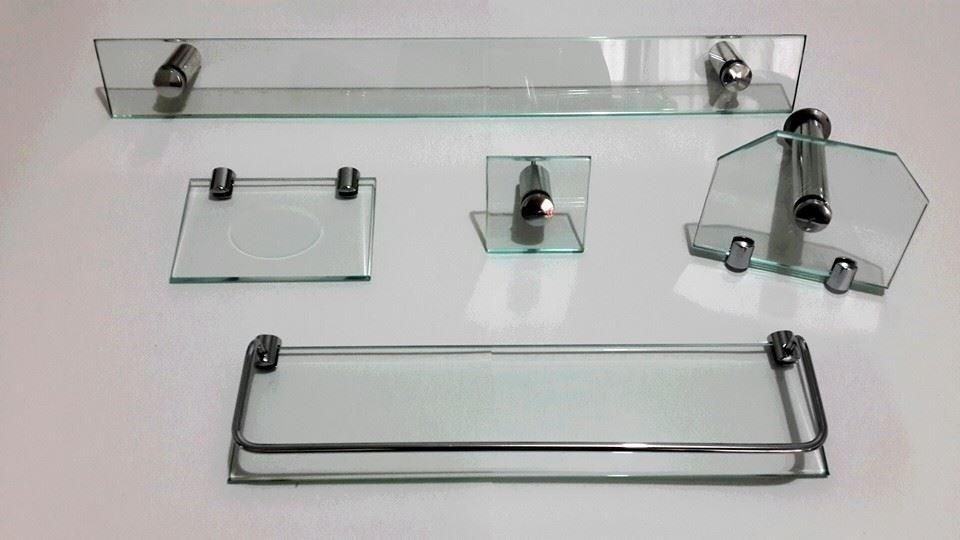 Kit Acessorios Vidro 8 Mm Banheiro Lavabo 5 Pç Cuba  R$ 109,99 em Mercado Livre -> Acessorios Pia De Banheiro
