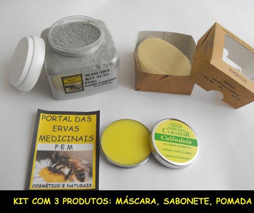 kit acne e oleosidade e máscara de azuleno 4 itens