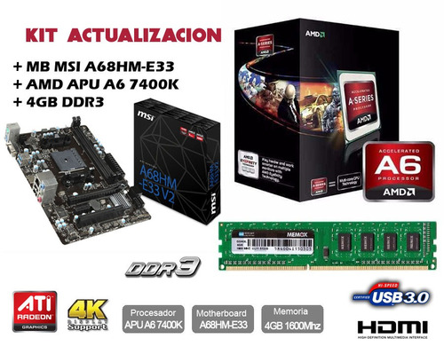 kit actualizacion amd apu a6 7400k + 4 gb ddr3 + mb msi