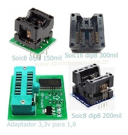 Kit Adaptador 150 200 300mil 1,8volts Ezp2010 Ch341a Tl866