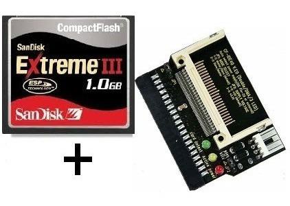 kit adaptador ide fêmea + cartão compact flash 1gb extreme 3