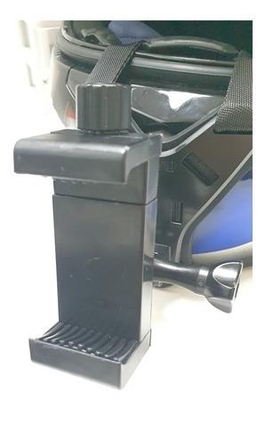 kit adaptador universal para capacete + suporte para celular