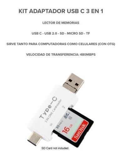 kit adaptador usb c 3 en 1 - lector de memoria sd  - otg