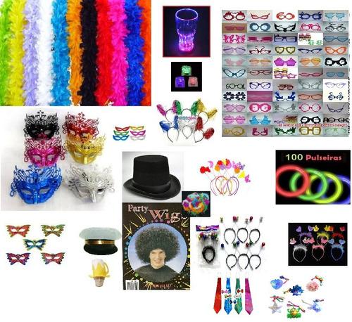 kit adereços 322 itens,neon,plumas,cartola,piscas,óculos,etc