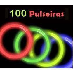 kit adereços p/ festa-100 colares piscas+100 pulseiras neon