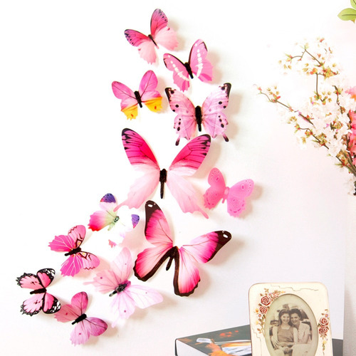 kit adesivo borboleta 3d kit pvc parede decoração 24un